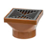 Polypipe Drain Square Hopper Solvent Socket with Grid 110mm Brown