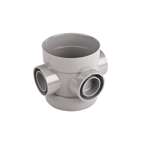 OsmaSoil Ring Seal System Bossed Pipe Double Switch 110mm Grey