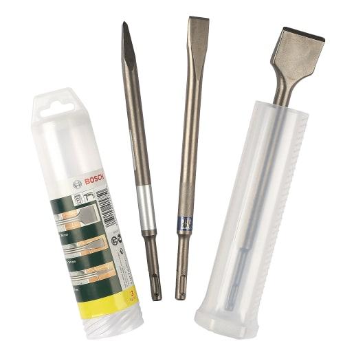 Bosch Chisel Set SDS-Plus Carbide 3-Piece 250mm Silver