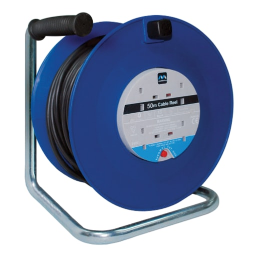 Masterplug 4 Gang 13A Open Cable Reel 50m Blue