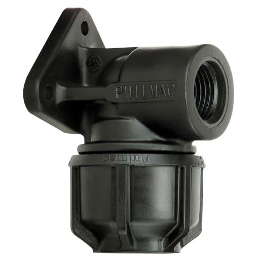 Philmac Wall Plate Elbow 25mm Black
