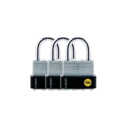 Yale Outdoor Padlock Laminated Steel 40mm Silver