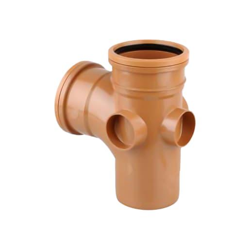 OsmaDrain 87.5° Equal Junction Single Socket 110mm Brown