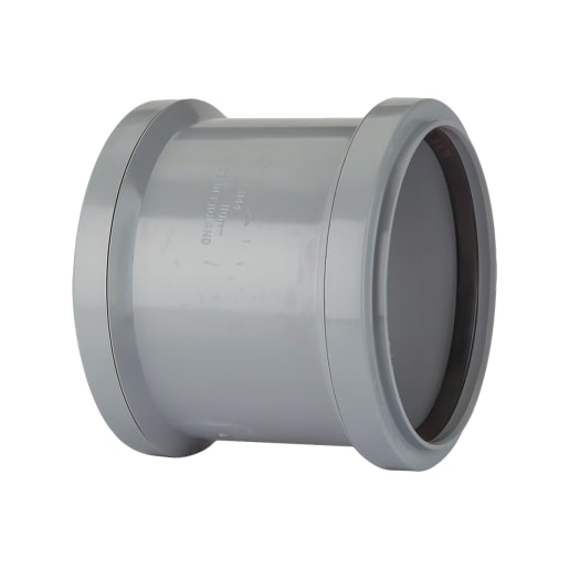 Polypipe Soil Double Socket Coupler 110mm Grey