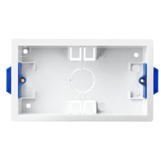 BG Electrical Dry Lining Box 2 Gang 35mm White