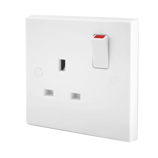 BG Electrical 1 Gang 13A Switch Socket Switched Double Pole White