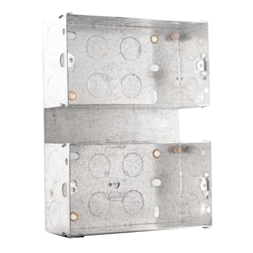 BG Electrical Steel Knockout Box 2 Gang 47mm Silver
