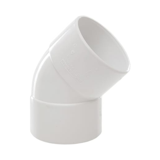 Polypipe Solvent Weld Waste 40mm Obtuse Bend 45° White
