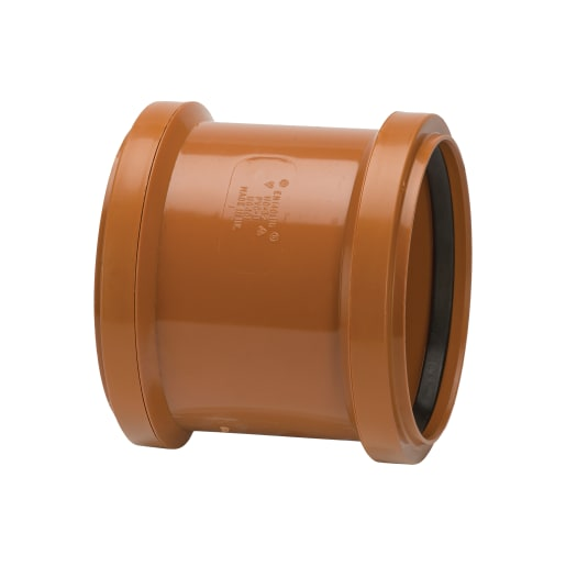 Polypipe Drain Double Socket Coupler 110mm Brown