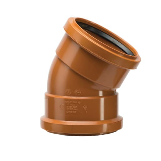 Polypipe Drain 30° Double Socket Junction 110mm Brown