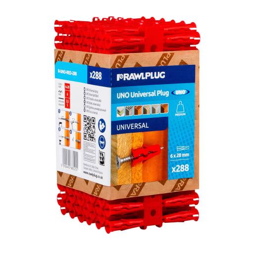 Rawlplug Universal Uno Plug 28 x 6mm Red Pack of 288