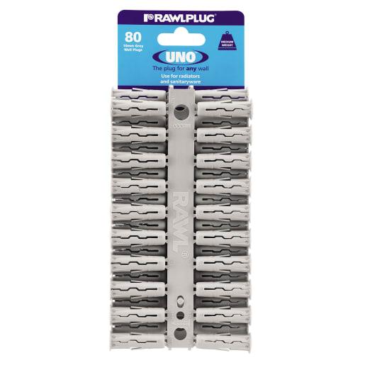 Rawlplug Universal Uno Plug 36 x 10mm Grey Pack of 80