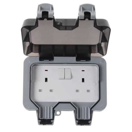 BG Electrical Nexus Weatherproof 2G 13A Double Pole Switch Grey
