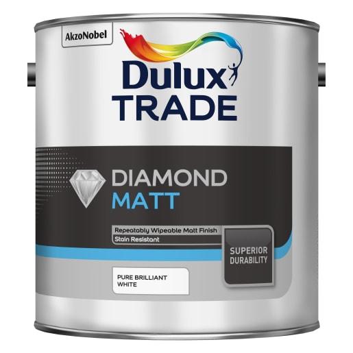 Dulux Trade Diamond Matt Paint 2.5L Pure Brilliant White