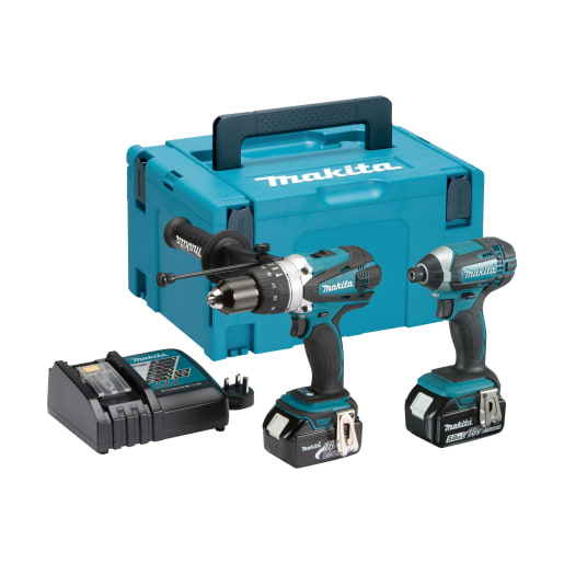 Makita 18V Combi Drill and Impact Driver 5.0Ah 2 Piece Kit Blue/Black