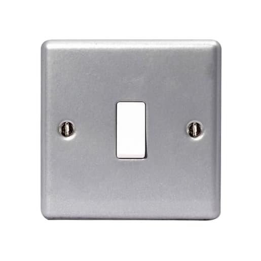 BG Electrical 1 Gang 2Way Single Switch Socket Metalclad Silver
