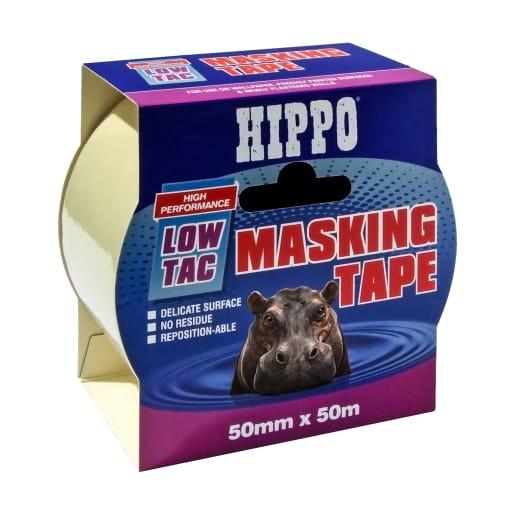Hippo Low-Tac Masking Tape 50mm x 50m Beige
