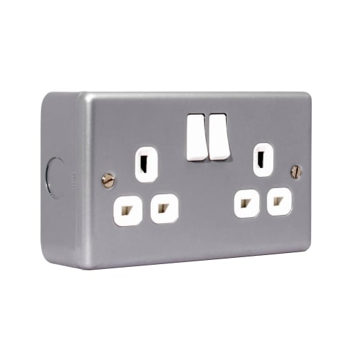 BG Electrical 2 Gang 13A Double Pole Switch Socket Metalclad Silver
