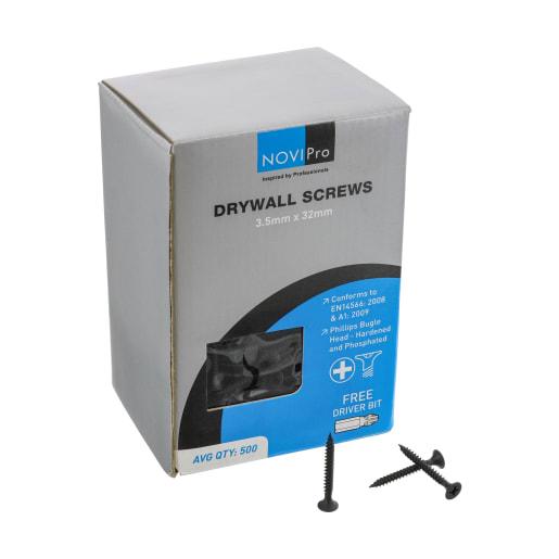 NOVIPro Drywall Screws 3.5 x 32mm Black Phosphate Plated Pack of 500