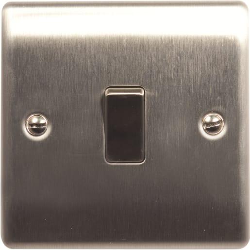 BG Electrical Nexus Metal 10AX Plate Switches 1 Gang 2Way Grey