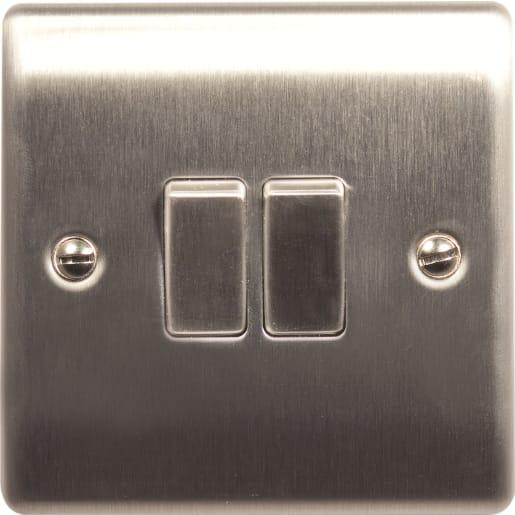 BG Electrical Nexus Metal 10AX Plate Switches 2 Gang 2Way Grey