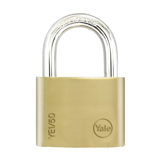 Yale Essential Series Solid Brass Shackle Padlock 50mm