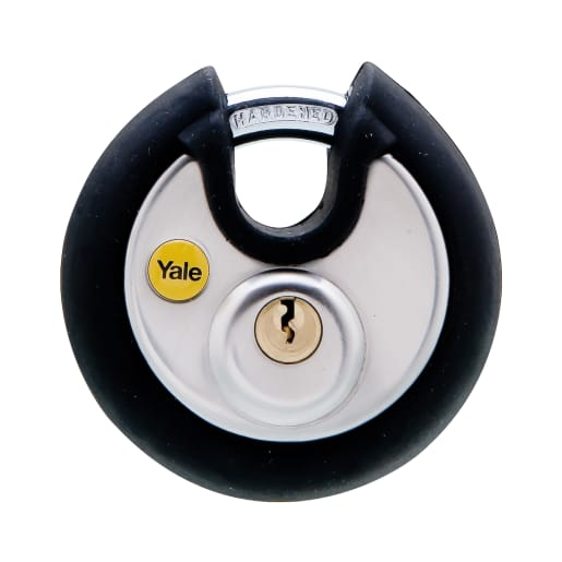 Yale Silver Series Disc Padlock Closed Shackle 70mm Chrome