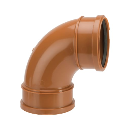 Polypipe Drain 87.5° Double Socket Bend Pipe 110mm Brown