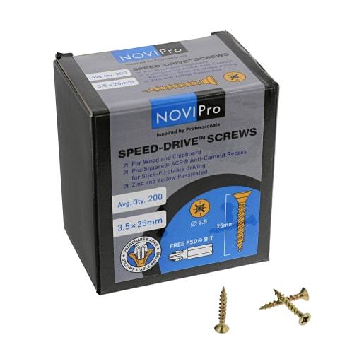 NOVIPro Speed-Drive Screws 3.5 x 25mm Yellow Passivated