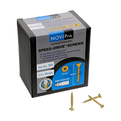 NOVIPro Speed-Drive Screws 3.5 x 30mm Yellow Passivated Pack of 200