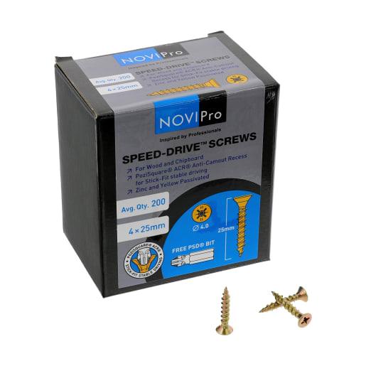 NOVIPro Speed-Drive Screws 4.0 x 25mm Pack of 200