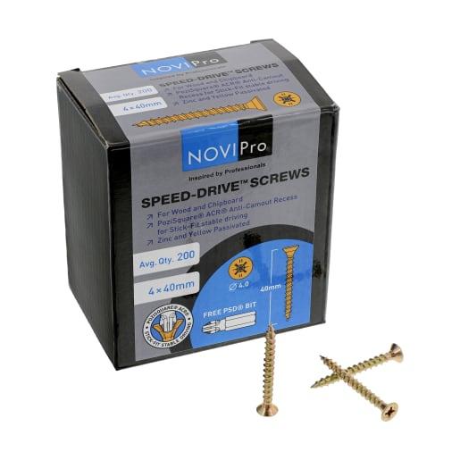 NOVIPro Speed-Drive Screws 4 x 40mm Pack of 200