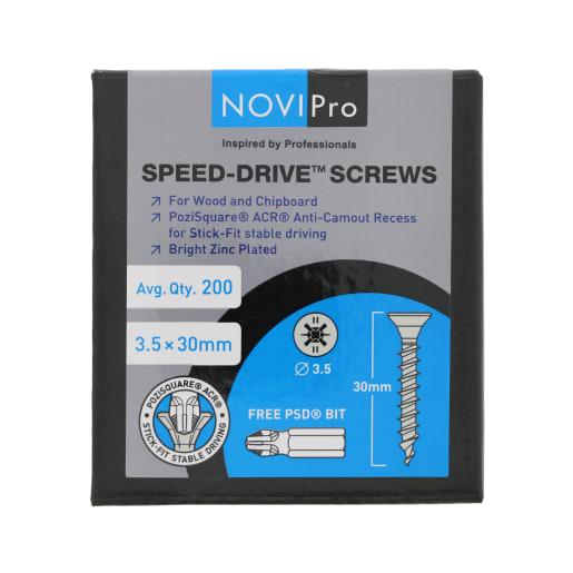 NOVIPro Speed-Drive Screws 3.5 x 30mm Bright Zinc Plated