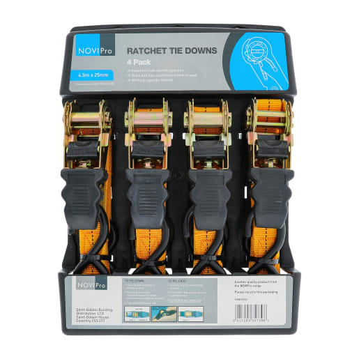 NOVIPro Ratchet Tie Down 4.5m x 25mm Pack of 4