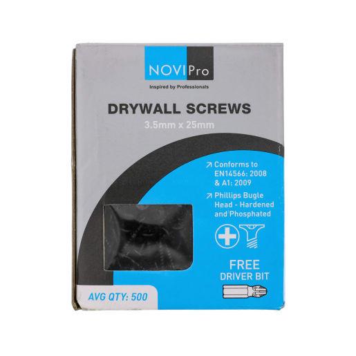 NOVIPro Drywall Screws 3.5 x 25mm Black Phosphate Plated Pack of 500