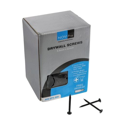 NOVIPro Drywall Screws 3.5 x 42mm Black Phosphate Plated Pack of 500