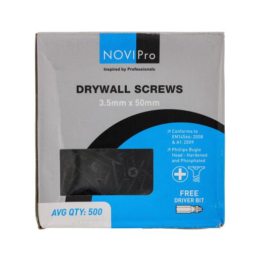 NOVIPro Drywall Screws 3.5 x 50mm Black Phosphate Plated Pack of 500