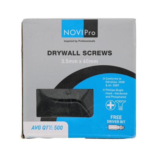NOVIPro Drywall Screws 3.5 x 60mm Black Phosphate Plated Pack of 500