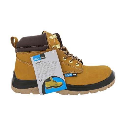 NOVIPro Safety Boots Tan Size 8