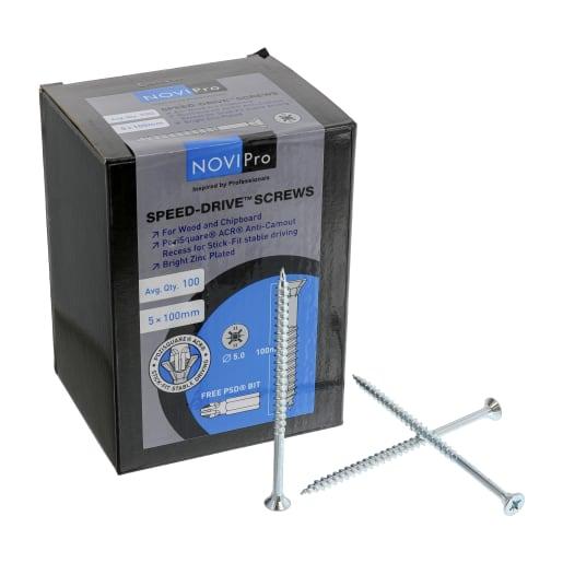 NOVIPro Speed-Drive Screws 5.0 x 100mm Bright Zinc Plated