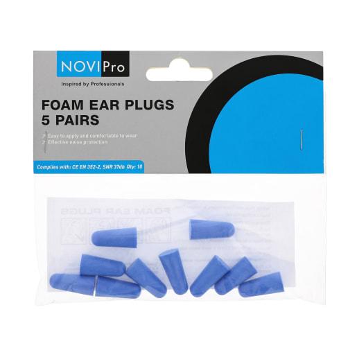 NOVIPro Blue Foam Ear Plugs Pack of 5 Pairs
