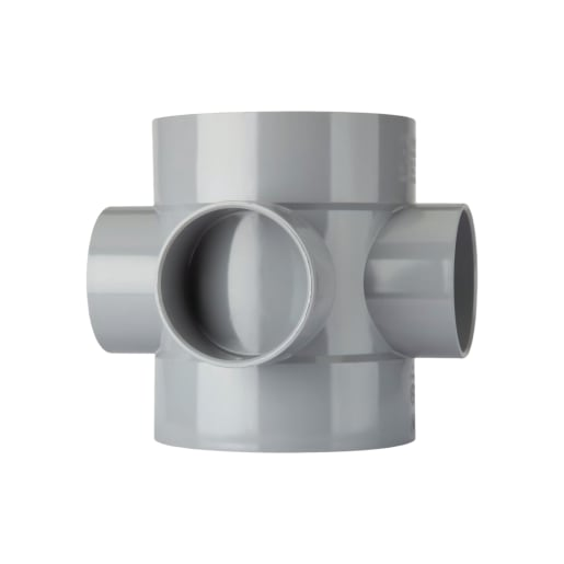 Polypipe Ring Seal Soil Double Solvent Socket Boss Pipe 110mm Grey