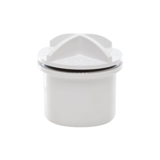 Polypipe Waste Solvent Weld 32mm Screwed Access Plug White
