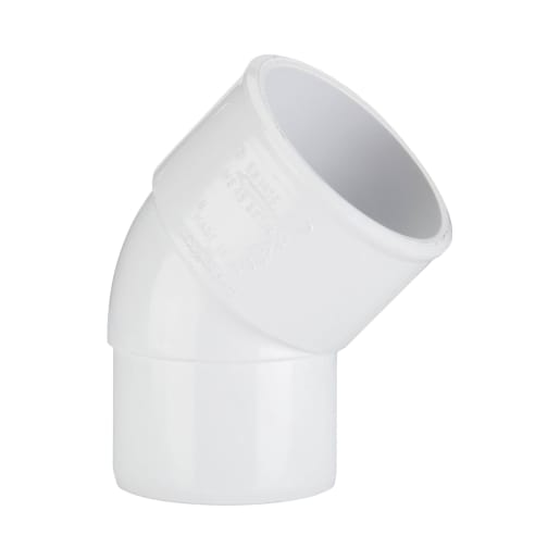 Polypipe Solvent Weld Waste 40mm Spigot Bend 45° White