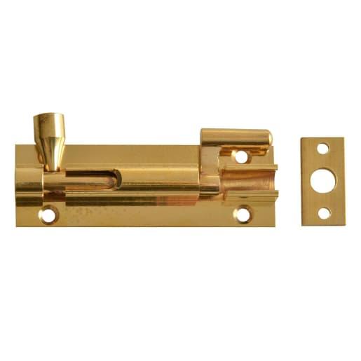 Barrel Cranked Bolt 76 x 25mm Polished Brass