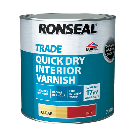 Ronseal Trade Quick Dry Interior Varnish 2.5 Litres Gloss