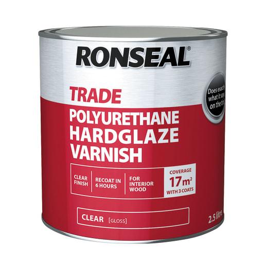 Ronseal Trade Polyurethane Hardglaze Varnish 2.5 Litres Clear