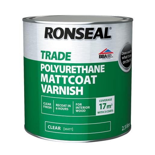 Ronseal Trade Polyurethane Mattcoat Varnish 2.5 Litres Clear