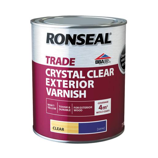 Ronseal Trade Crystal Clear Exterior Varnish Satin 750ml