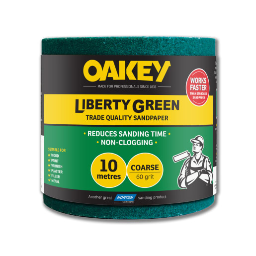Oakey Liberty Green sandpaper roll 115 x 10m 60 grit